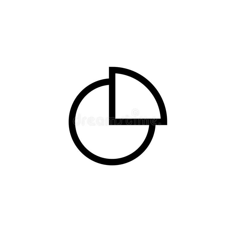 Torta del grafico con progettazione quarta dell'icona della fetta linea pulita semplice illustrazione professionale di vettore di royalty illustrazione gratis