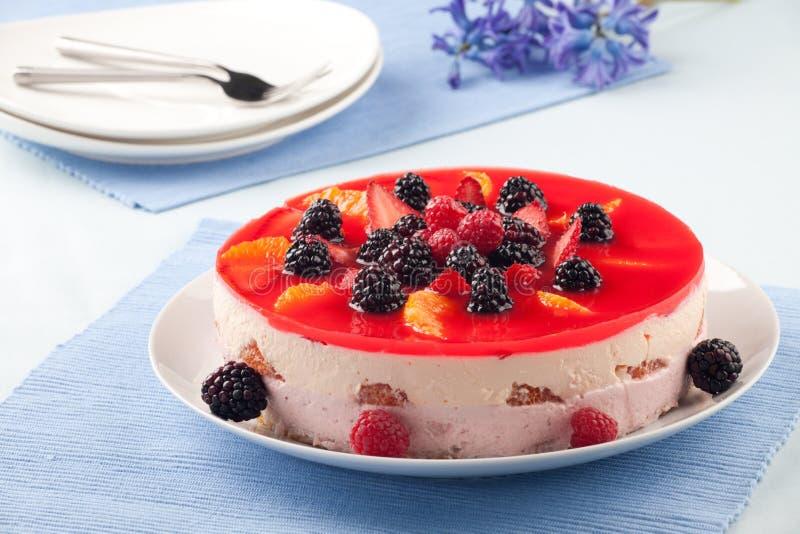 Torta del jogurt alla frutta fotografia stock libera da diritti