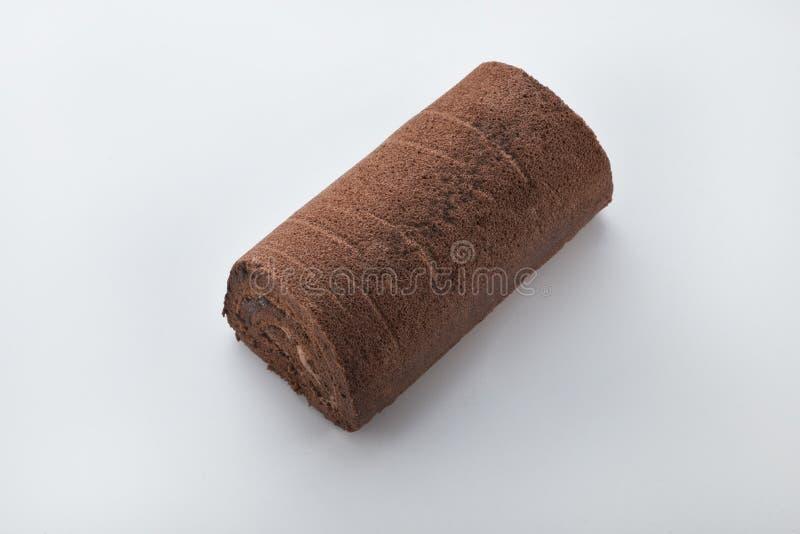 Torta del rodillo suizo del chocolate fotos de archivo