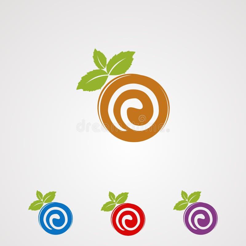Torta del rollo con vector, el icono, el elemento, y la plantilla del logotipo de la hoja de la menta para la compañía ilustración del vector