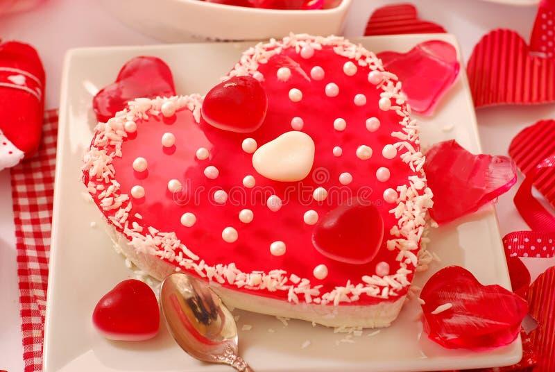 Torta del `s del biglietto di S. Valentino con gelatina fotografia stock