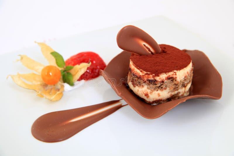 Torta del tiramisu del chocolate imagenes de archivo