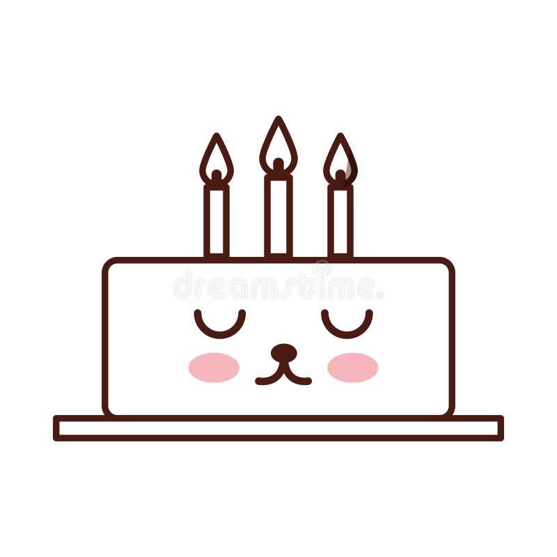 Torta deliciosa brithday con el carácter del kawaii de las velas stock de ilustración