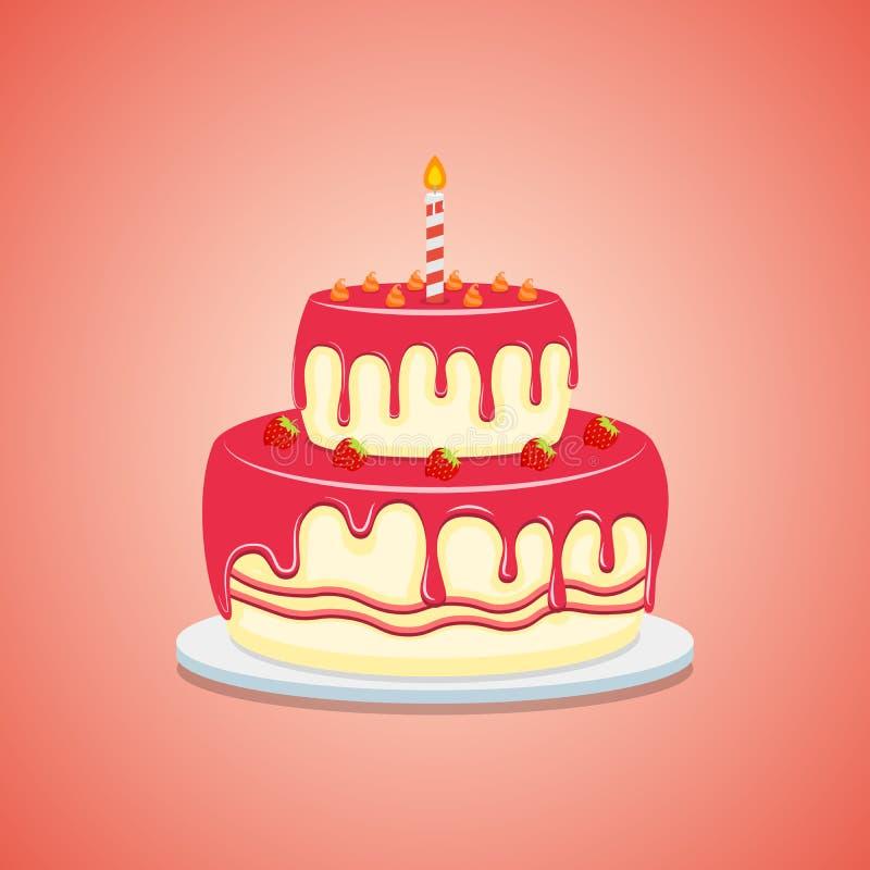 Torta deliciosa con cremoso, estilo plano de la fresa Icono del ejemplo del vector aislado en el fondo blanco libre illustration