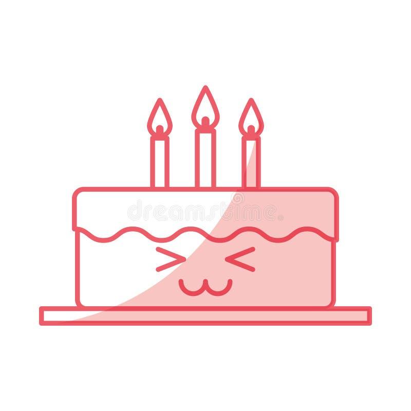 Torta deliciosa con el carácter del kawaii de las velas ilustración del vector