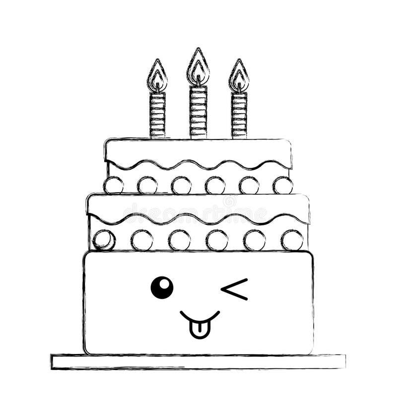 Torta deliciosa con el carácter del kawaii de las velas stock de ilustración