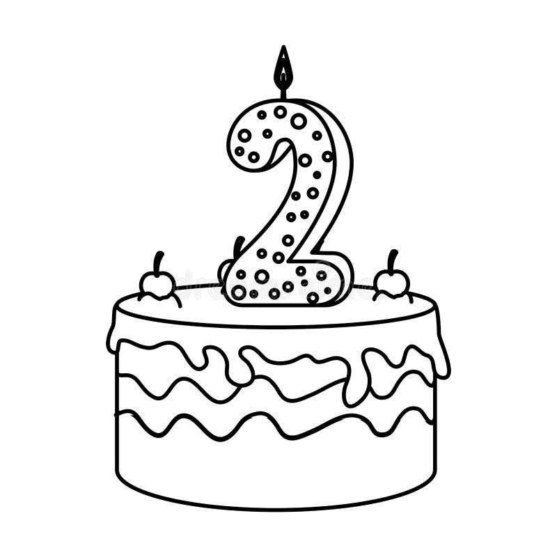 Torta deliciosa con la vela número dos ilustración del vector