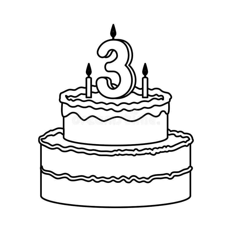 Torta deliciosa con la vela número tres ilustración del vector