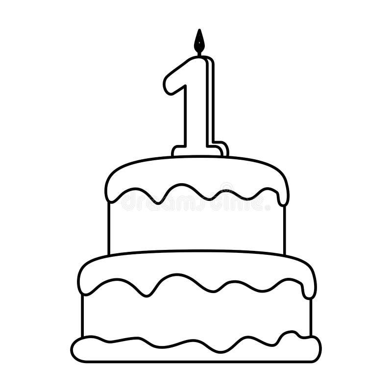 Torta deliciosa con la vela número uno stock de ilustración