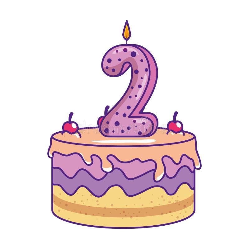 Torta deliciosa con la vela n?mero dos libre illustration