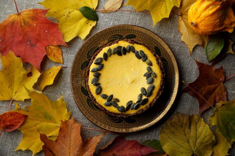 Torta deliciosa de la calabaza con las hojas en fondo fotografía de archivo libre de regalías