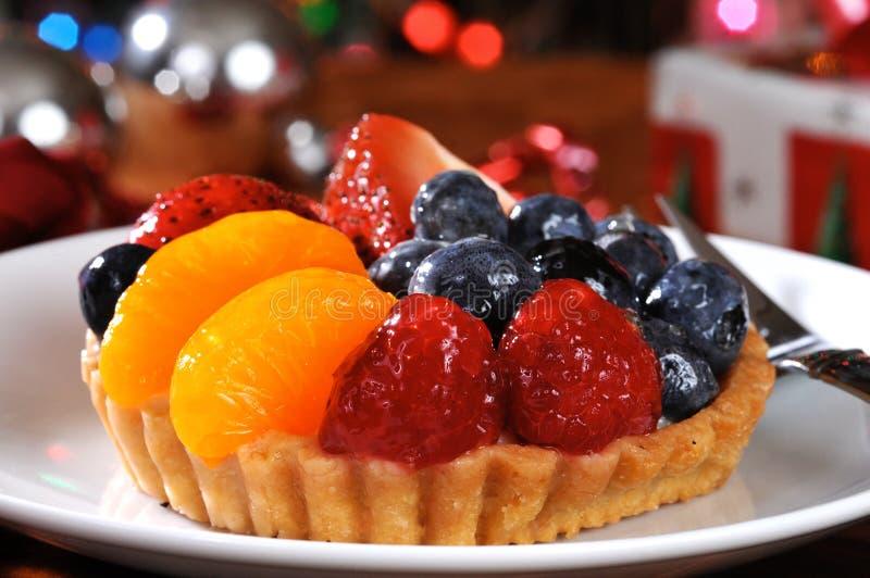 Torta della frutta a natale immagine stock