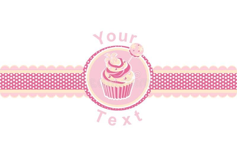 Torta della tazza su un colore rosa illustrazione vettoriale
