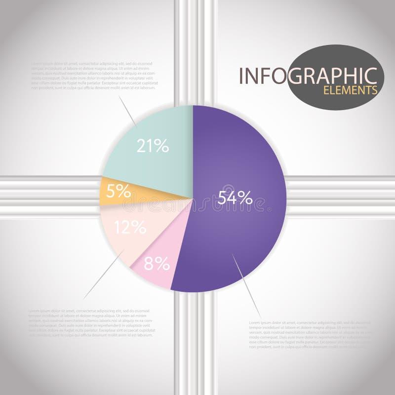 Torta delle percentuali di Infographic dei modelli del grafico del cerchio illustrazione di stock