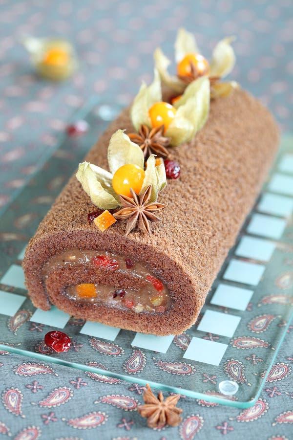 Torta dello swiss roll del cioccolato immagine stock