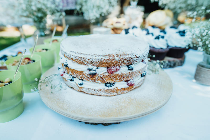 Torta desnuda con las bayas fotografía de archivo