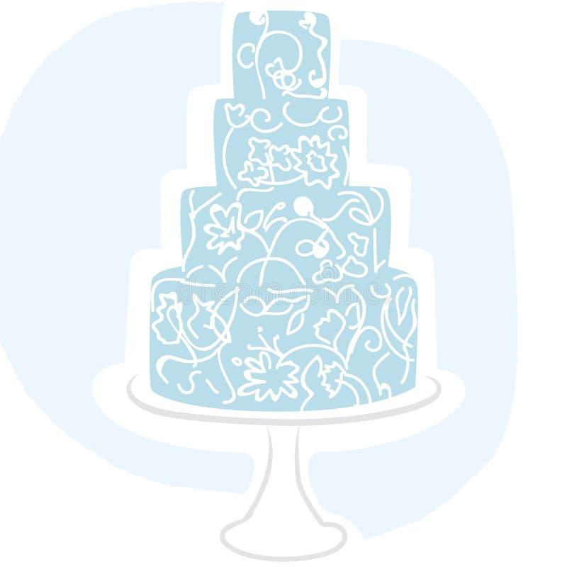 Torta di cerimonia nuziale - azzurro illustrazione di stock