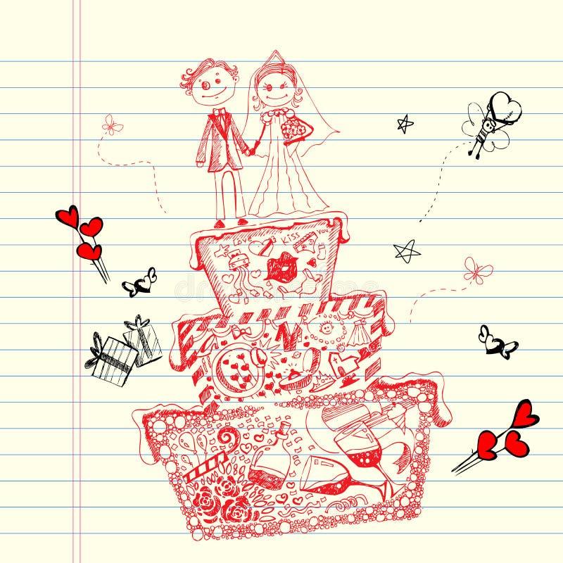 Torta di cerimonia nuziale di Doodle illustrazione di stock