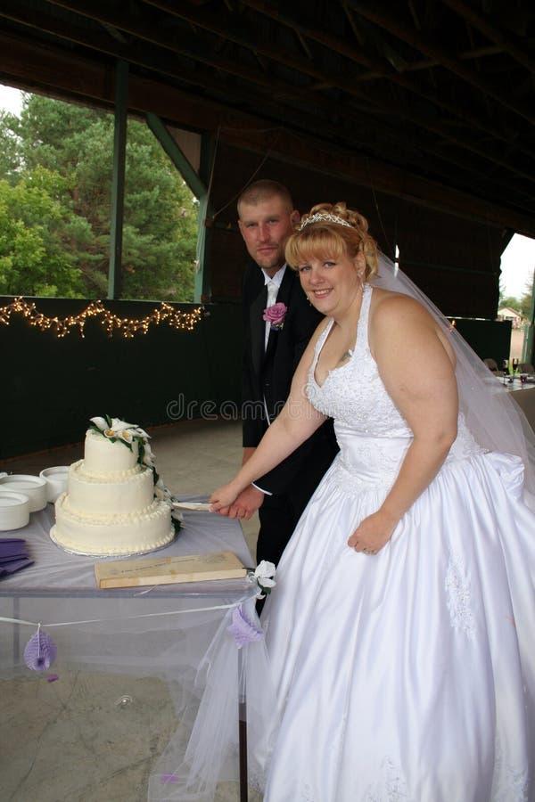 Torta di cerimonia nuziale di taglio dello sposo e della sposa fotografia stock libera da diritti