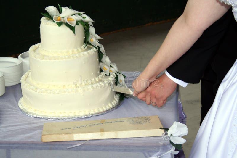 Torta di cerimonia nuziale di taglio dello sposo e della sposa fotografie stock libere da diritti