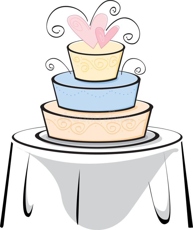 Torta di cerimonia nuziale su una tabella illustrazione di stock