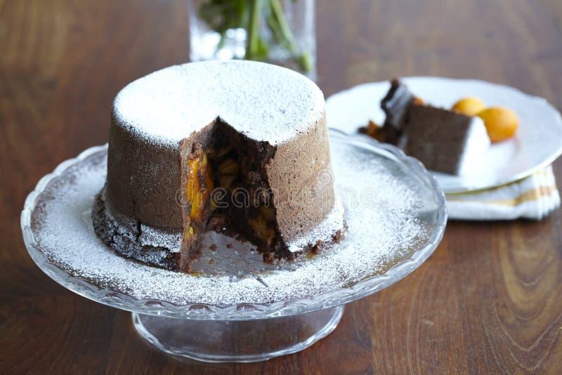 Torta di cioccolato cotta a vapore con i kumquat fotografia stock libera da diritti