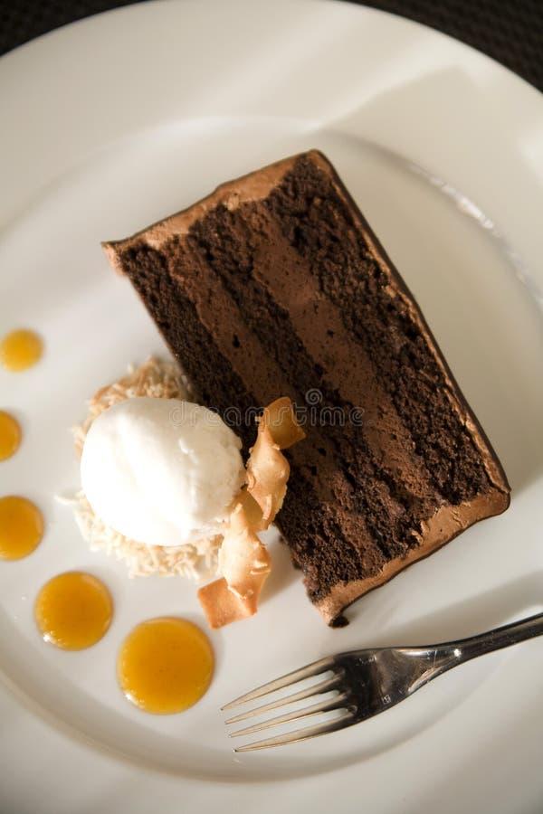 Torta di cioccolato e gelato della noce di cocco fotografia stock libera da diritti