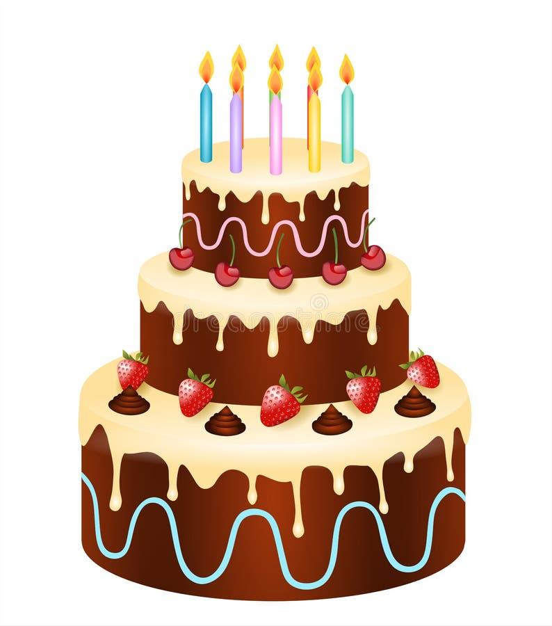 torta di compleanno con cioccolato, le fragole e le ciliege royalty illustrazione gratis