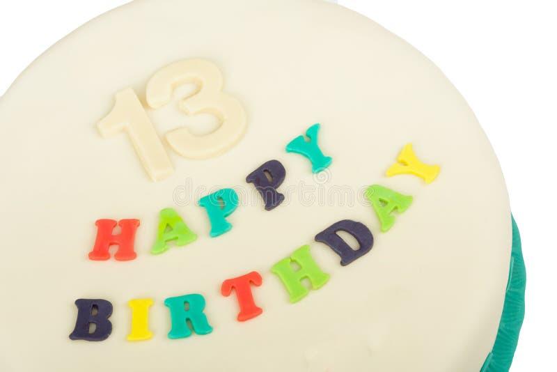 Torta di compleanno con il buon compleanno del testo immagine stock libera da diritti