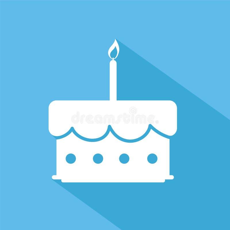 Torta di compleanno con l'icona piana della candela sul blu con ombra, v di riserva illustrazione vettoriale