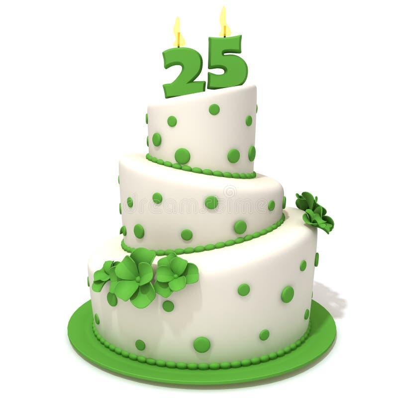 Torta di compleanno con l'illustrazione 3d di numero venticinque illustrazione vettoriale