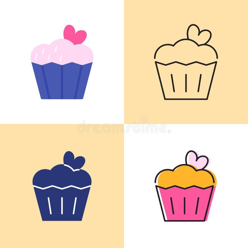 Torta di compleanno con l'insieme dell'icona del cuore in piano e nella linea stili illustrazione di stock