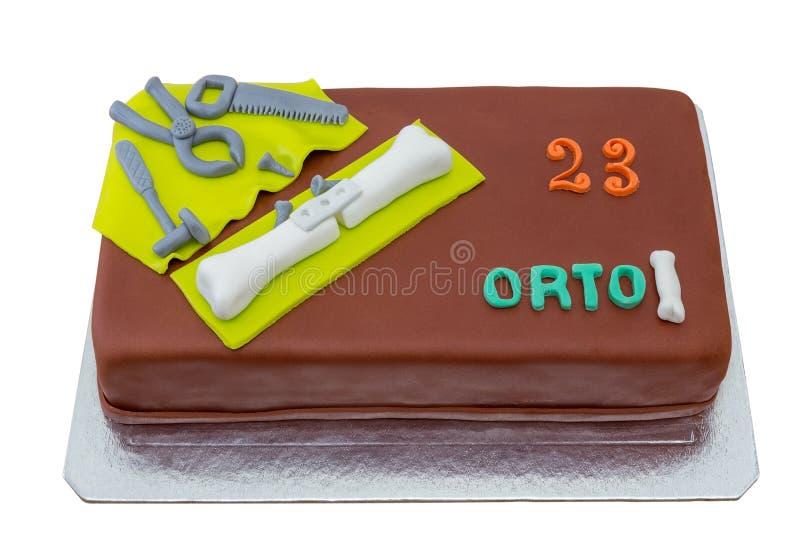 Torta di compleanno con la pasta dello zucchero immagini stock libere da diritti
