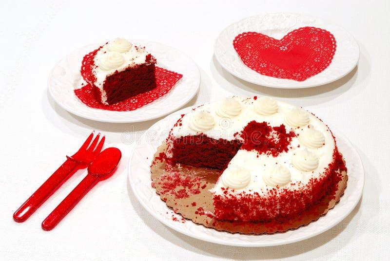 Torta di compleanno del biglietto di S. Valentino fotografia stock libera da diritti