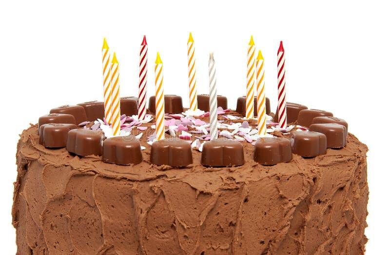 Torta di compleanno del cioccolato fotografie stock