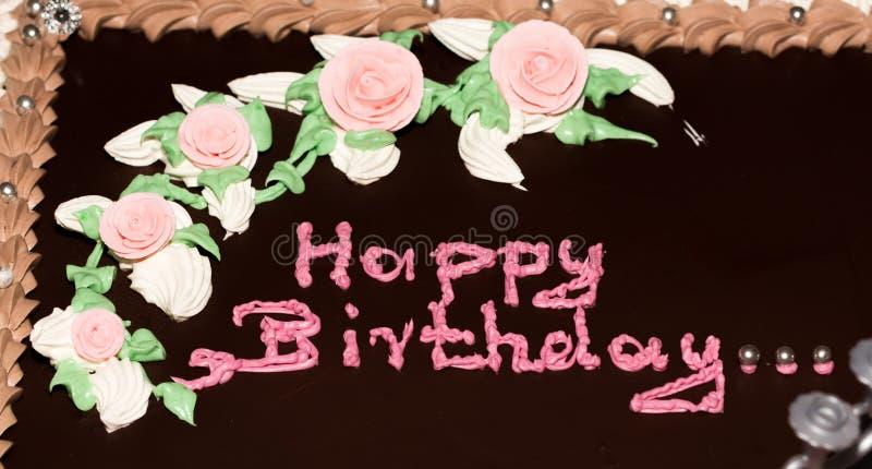 Torta di compleanno del cioccolato immagini stock libere da diritti