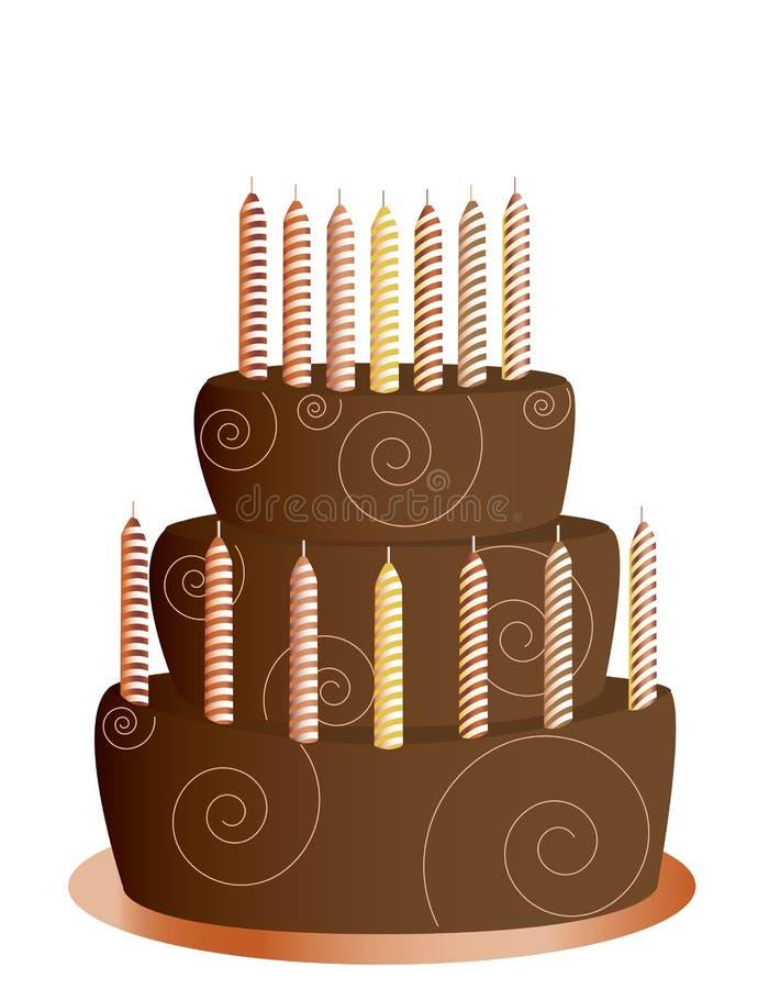Torta di compleanno del cioccolato isolata illustrazione vettoriale