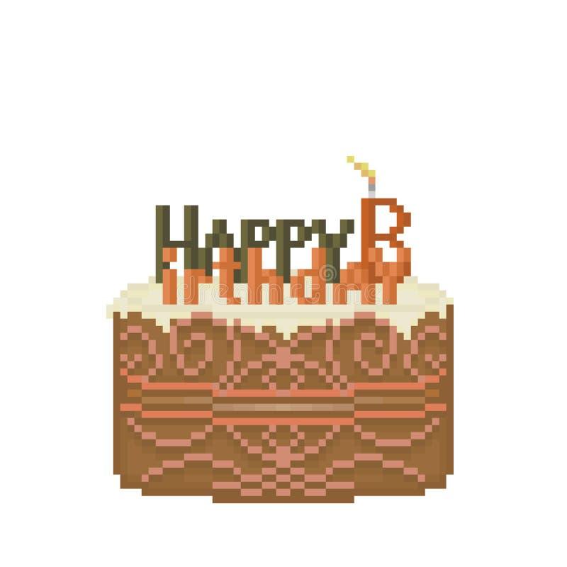Torta di compleanno del pixel fotografia stock