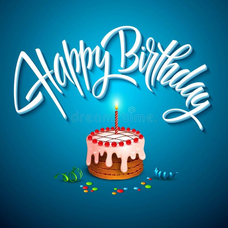 torta di compleanno di vettore con le candele illustrazione di stock