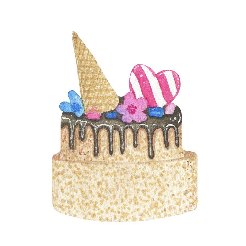 Torta di compleanno disegnata a mano dell'acquerello con cioccolato isolato su fondo bianco illustrazione di stock