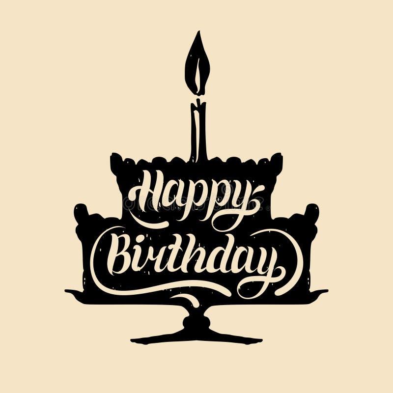 Torta di compleanno felice con una candela Vector il manifesto di tipografia dell'iscrizione della mano sulla siluetta festiva de illustrazione vettoriale