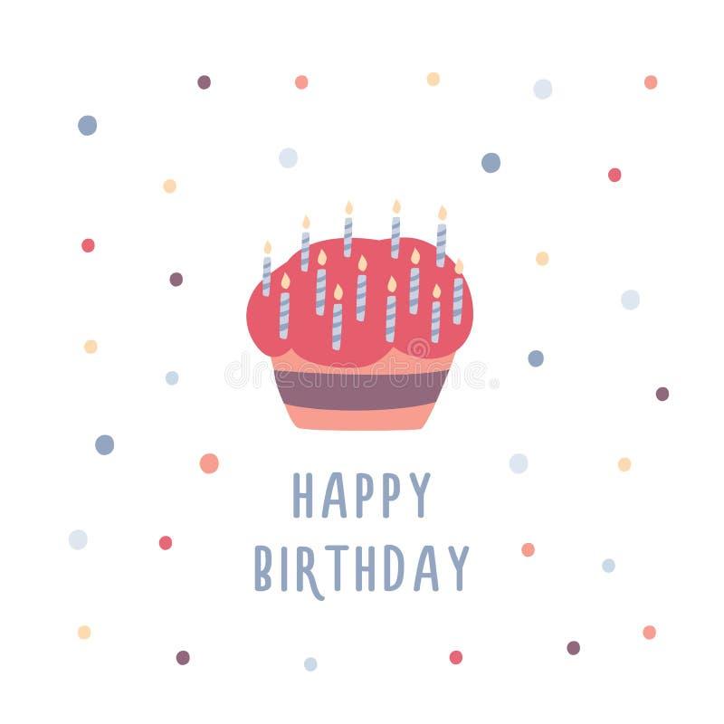 Torta di compleanno o bigné decorato con le candele, i coriandoli variopinti e l'iscrizione su fondo bianco Dessert cotto royalty illustrazione gratis