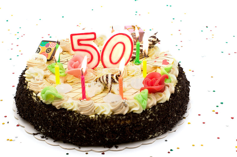 Favoloso Torta Di Compleanno Per 50 Anni Di Giubileo Fotografia Stock  AQ34