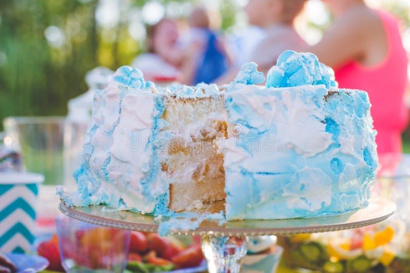 Torta di compleanno per il compleanno Un pezzo già ha tagliato Il coltello taglia il dolce Picnic nella sosta un giorno pieno di  fotografie stock libere da diritti