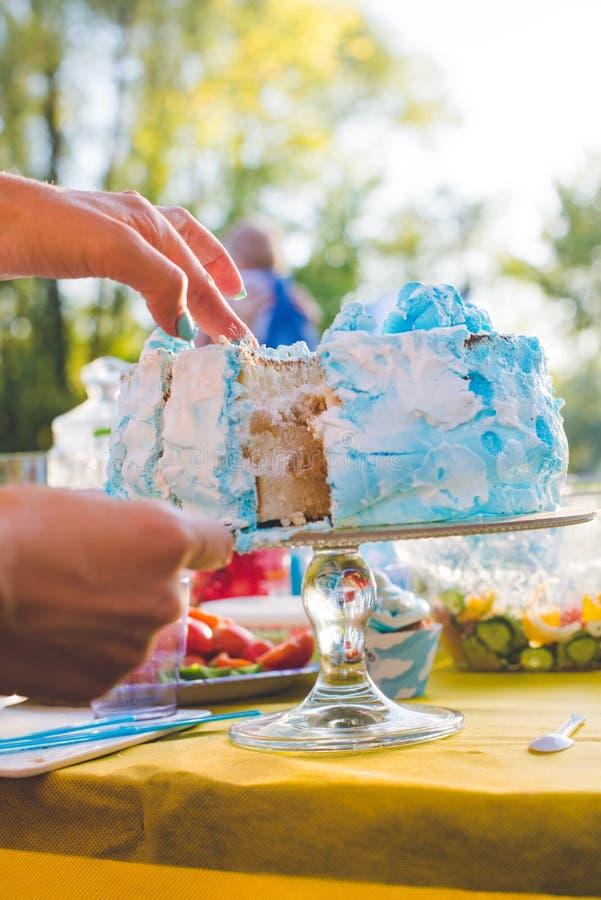 Torta di compleanno per il compleanno Un pezzo già ha tagliato Il coltello taglia il dolce Picnic nella sosta un giorno pieno di  fotografia stock libera da diritti