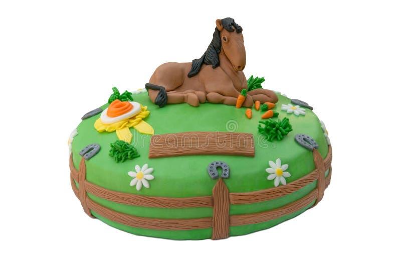 Torta di compleanno verde del cavallo immagine stock