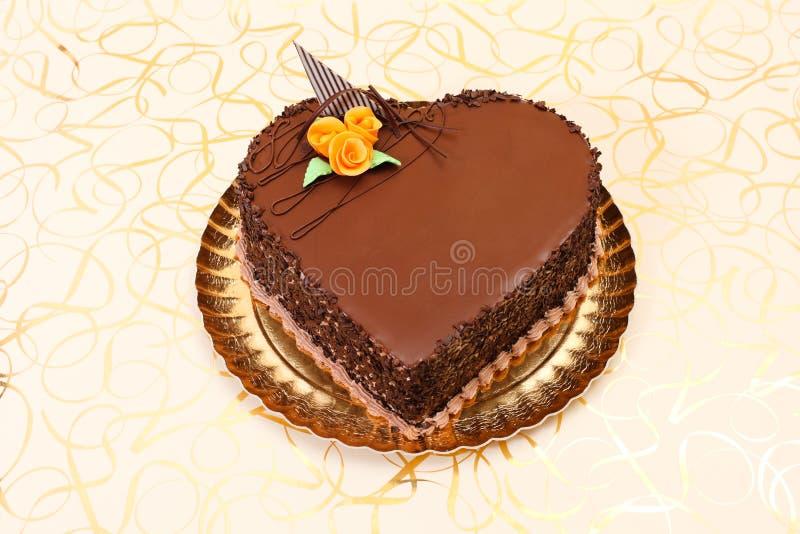 Torta di figura del cuore del cioccolato immagine stock libera da diritti
