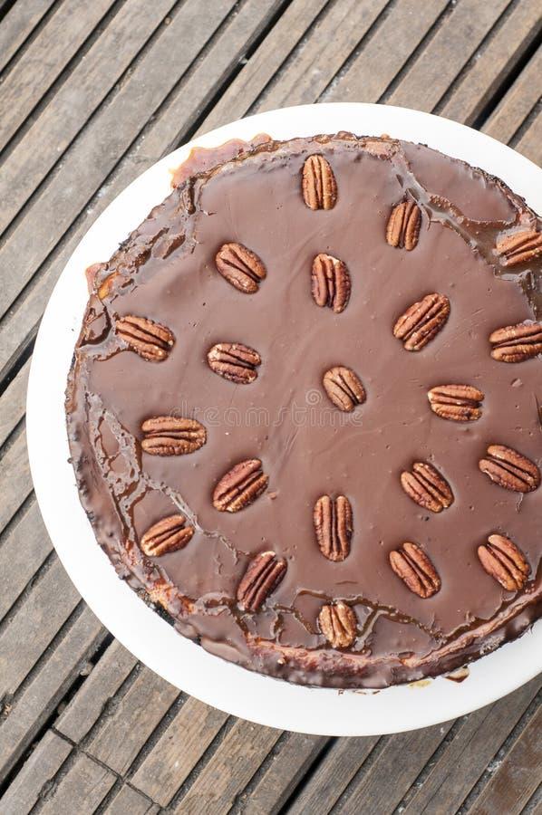 Torta di formaggio con il ganache del cioccolato fotografia stock libera da diritti