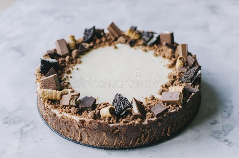 Torta di formaggio con il gourmet del cioccolato fotografia stock libera da diritti