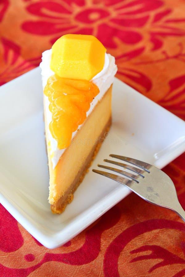 Torta di formaggio del mango fotografia stock